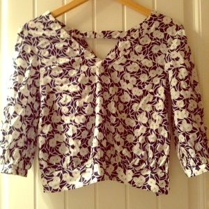 Anthropologie blouse with navy and white flowers